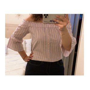 Abercrombie & Fitch Off the Shoulder Striped Top
